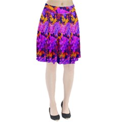 Purple Painted Floral And Succulents Pleated Skirt