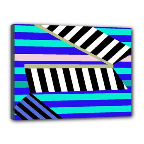 Blue lines decor Canvas 16  x 12