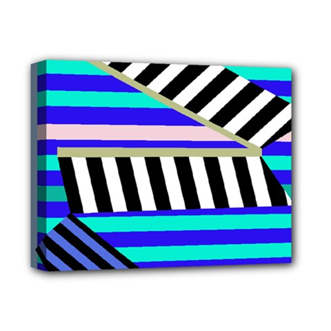 Blue lines decor Deluxe Canvas 14  x 11