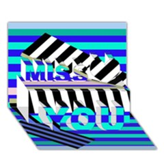 Blue Lines Decor Miss You 3d Greeting Card (7x5)