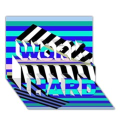 Blue lines decor WORK HARD 3D Greeting Card (7x5)