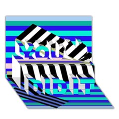 Blue lines decor You Did It 3D Greeting Card (7x5)
