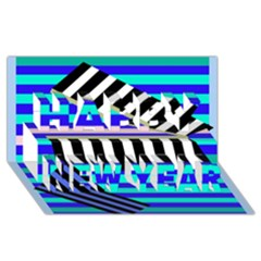 Blue lines decor Happy New Year 3D Greeting Card (8x4)