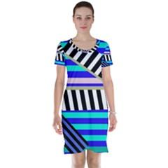 Blue lines decor Short Sleeve Nightdress