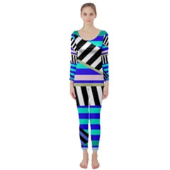 Blue lines decor Long Sleeve Catsuit