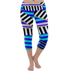 Blue Lines Decor Capri Yoga Leggings