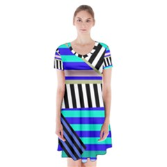 Blue lines decor Short Sleeve V-neck Flare Dress