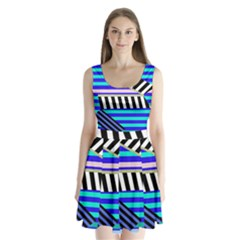 Blue lines decor Split Back Mini Dress