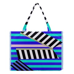 Blue Lines Decor Medium Tote Bag