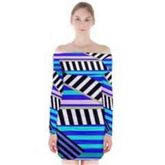Blue lines decor Long Sleeve Off Shoulder Dress