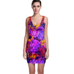 Purple Painted Floral And Succulents Bodycon Dress