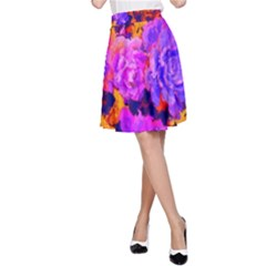 Purple Painted Floral and Succulents A-Line Skirt