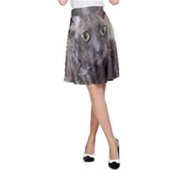 Cornish Rex, Blue A-Line Skirt