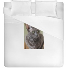 Cornish Rex, Blue Duvet Cover Double Side (King Size)