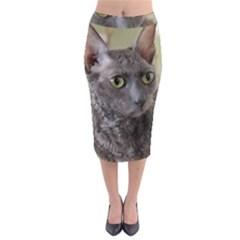 Cornish Rex, Blue Midi Pencil Skirt