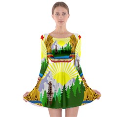 National Emblem Of Romania, 1965 1989  Long Sleeve Skater Dress
