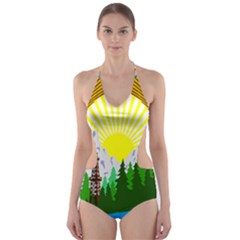National Emblem Of Romania, 1965 1989  Cut Out One Piece Swimsuit