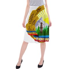 National Emblem Of Romania, 1965 1989  Midi Beach Skirt