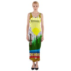 National Emblem Of Romania, 1965 1989  Fitted Maxi Dress