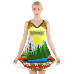 National Emblem Of Romania, 1965 1989  V Neck Sleeveless Skater Dress