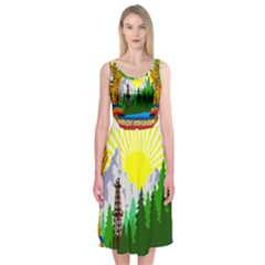 National Emblem Of Romania, 1965 1989  Midi Sleeveless Dress