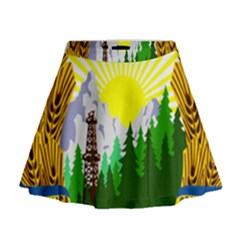 National Emblem Of Romania, 1965 1989  Mini Flare Skirt