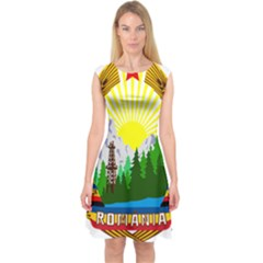 National Emblem Of Romania, 1965 1989  Capsleeve Midi Dress