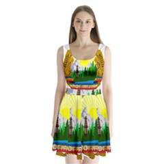 National Emblem Of Romania, 1965 1989  Split Back Mini Dress