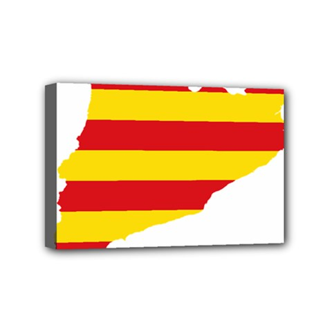 Flag Map Of Catalonia Mini Canvas 6  X 4