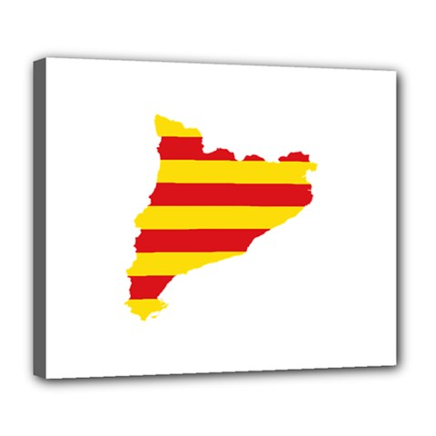 Flag Map Of Catalonia Deluxe Canvas 24  X 20