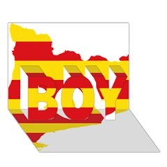 Flag Map Of Catalonia Boy 3d Greeting Card (7x5)