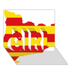 Flag Map Of Catalonia Girl 3d Greeting Card (7x5)