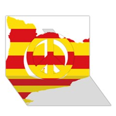 Flag Map Of Catalonia Peace Sign 3d Greeting Card (7x5)