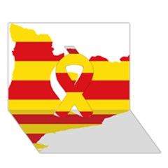 Flag Map Of Catalonia Ribbon 3d Greeting Card (7x5)