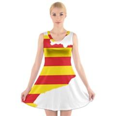 Flag Map Of Catalonia V Neck Sleeveless Skater Dress