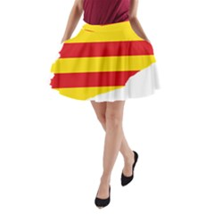 Flag Map Of Catalonia A Line Pocket Skirt