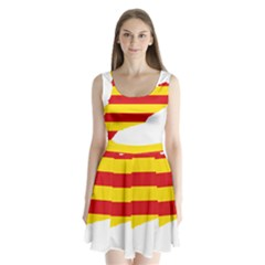 Flag Map Of Catalonia Split Back Mini Dress