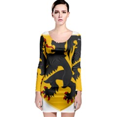 Flanders Coat Of Arms  Long Sleeve Bodycon Dress