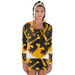 Flanders Coat Of Arms  Women s Long Sleeve Hooded T Shirt