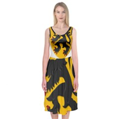 Flanders Coat Of Arms  Midi Sleeveless Dress