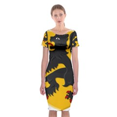 Flanders Coat Of Arms  Classic Short Sleeve Midi Dress