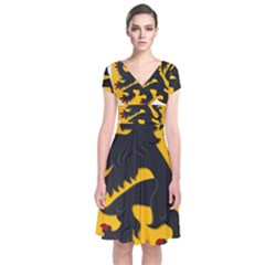 Flanders Coat Of Arms  Short Sleeve Front Wrap Dress