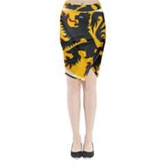 Flanders Coat Of Arms  Midi Wrap Pencil Skirt