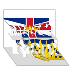 Flag Map of British Columbia Miss You 3D Greeting Card (7x5)
