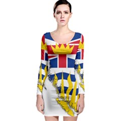 Flag Map Of British Columbia Long Sleeve Bodycon Dress