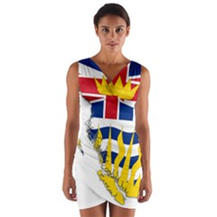 Flag Map Of British Columbia Wrap Front Bodycon Dress