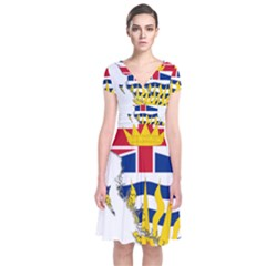 Flag Map Of British Columbia Short Sleeve Front Wrap Dress