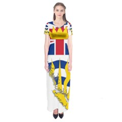 Flag Map Of British Columbia Short Sleeve Maxi Dress