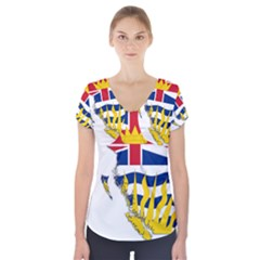 Flag Map Of British Columbia Short Sleeve Front Detail Top