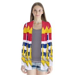 Flag Map Of British Columbia Drape Collar Cardigan